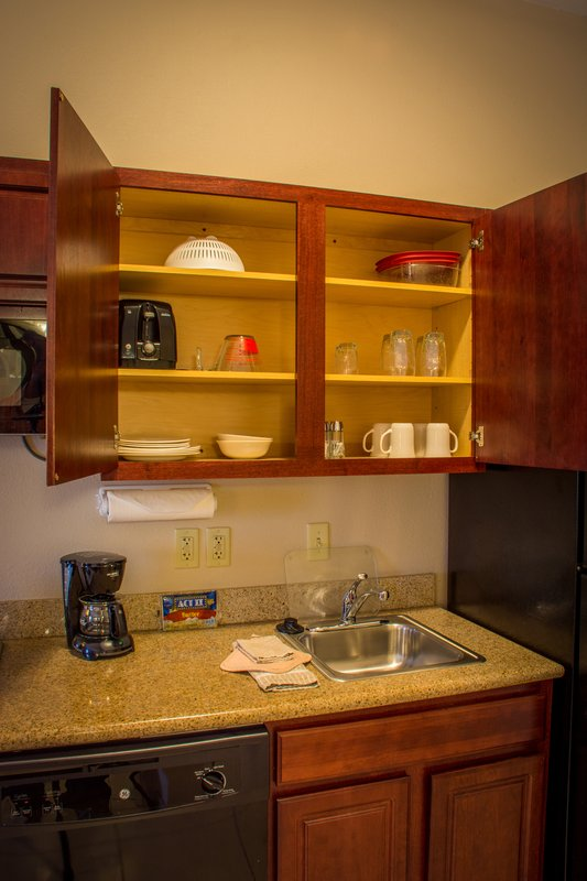 Candlewood Suites South Bend Airport-Kitchens are Fully Stocked with Dishes, Utensils, Pots, Pans, Etc<br/>Image from Leonardo