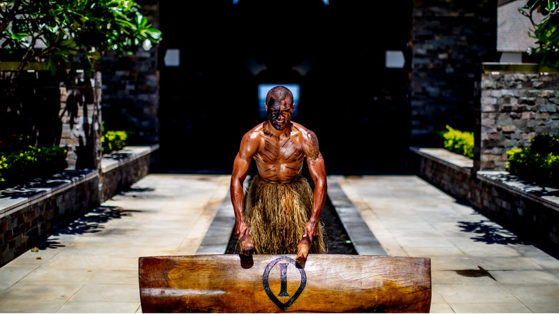 InterContinental Fiji Golf Resort & Spa-Fijian Warrior Beating the Lali on Arrival<br/>Image from Leonardo