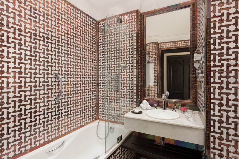 Hotel Alfonso XIII; a Luxury Collection Hotel Seville-Deluxe Single Room Guest Bathroom<br/>Image from Leonardo