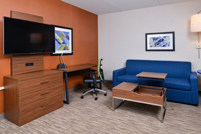 Holiday Inn Express & Suites Buffalo Downtown-ADA accessible suite with pullout sofa and work area.<br/>Image from Leonardo