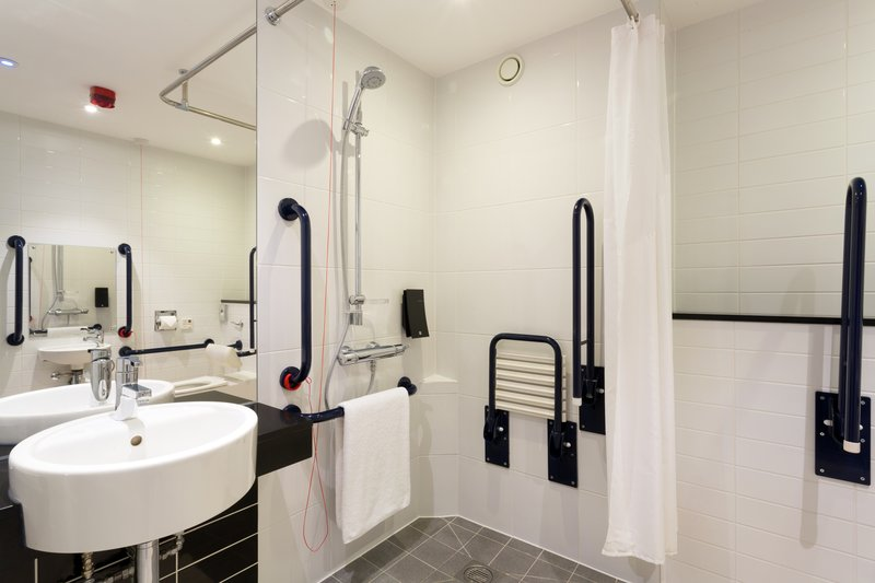 Holiday Inn Express Harlow-Modern Wheelchair Accessible Roll In Shower<br/>Image from Leonardo