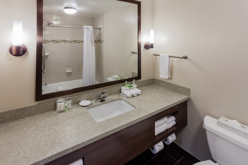 Holiday Inn Express & Suites Carpinteria-Standard Guest Bath w/Quartz Counter, Sconce Lighting, Hairdryer<br/>Image from Leonardo