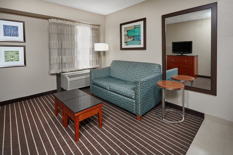 Holiday Inn Express Hampton - Coliseum Central-ADA/Handicapped accessible King Guest living area<br/>Image from Leonardo