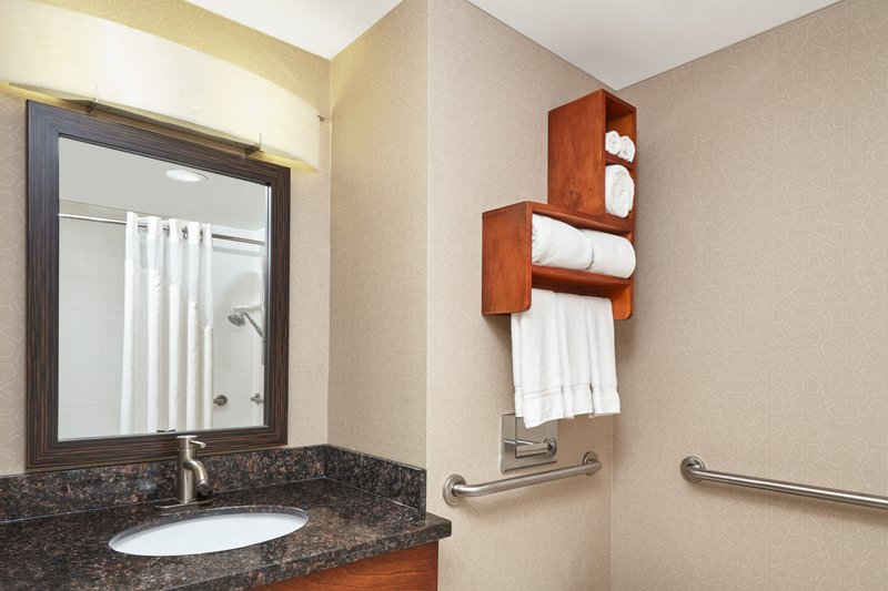 Holiday Inn Express Hampton - Coliseum Central-ADA/Handicapped accessible Guest Bathroom vanity<br/>Image from Leonardo