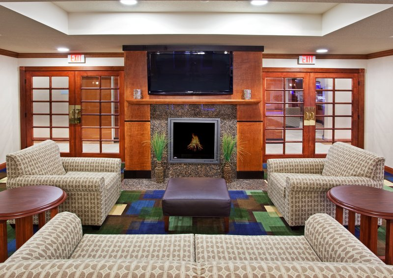 Holiday Inn Express & Suites East Lansing-Relax in our comfortable lobby, catch the news & enjoy the fire.<br/>Image from Leonardo