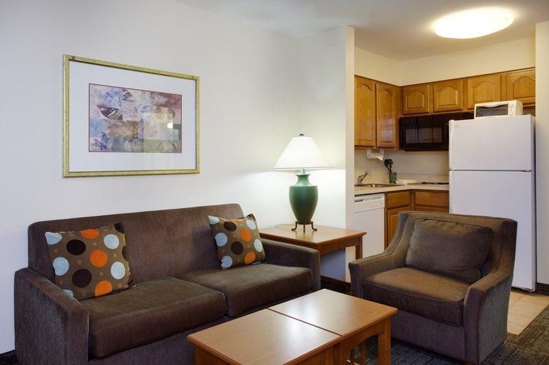 Staybridge Suites Corning-Two Bedroom Suite living/kitchen area<br/>Image from Leonardo