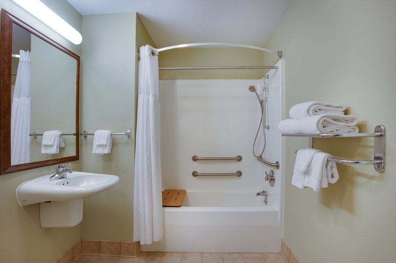 Staybridge Suites Corning-ADA Accessible Guest Bathroom with mobility tub<br/>Image from Leonardo