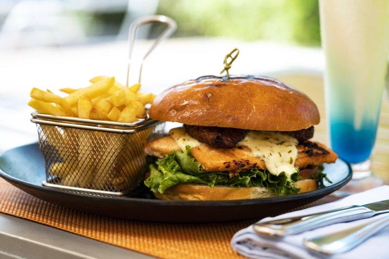THE RITZ-CARLTON, ARUBA - Madero Pool & Beach Grill - Salmon Burger <br/>Image from Leonardo