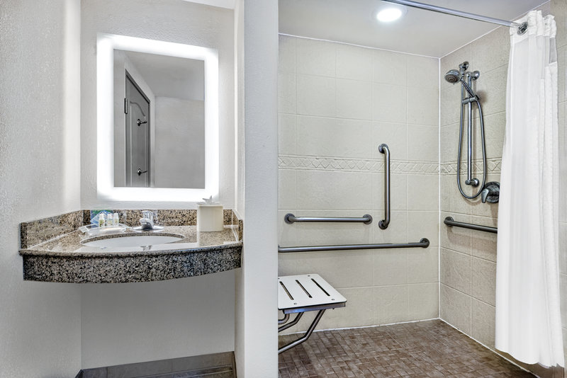Holiday Inn Hotel & Suites College Station - Aggieland-ADA/Handicap accessible Guest Bathroom with shower<br/>Image from Leonardo