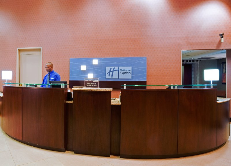 Holiday Inn Express Winston-Salem Downtown West-Easy accessible Front Desk with three check-in stations<br/>Image from Leonardo