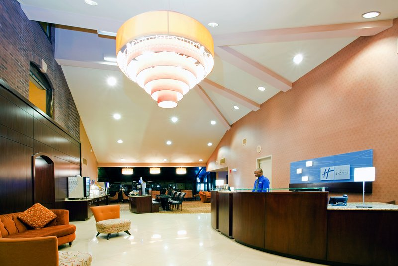 Holiday Inn Express Winston-Salem Downtown West-Spacious Hotel Lobby with TV nook<br/>Image from Leonardo