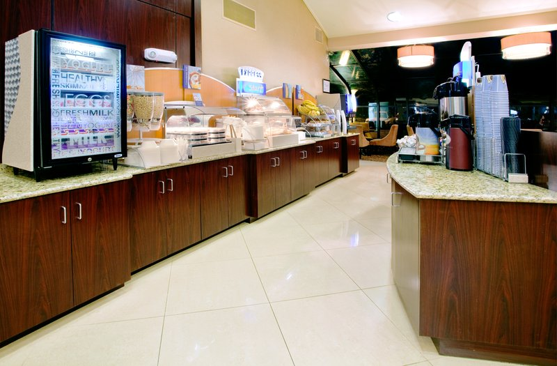 Holiday Inn Express Winston-Salem Downtown West-Hot breakfast with eggs, bacon, biscuits<br/>Image from Leonardo