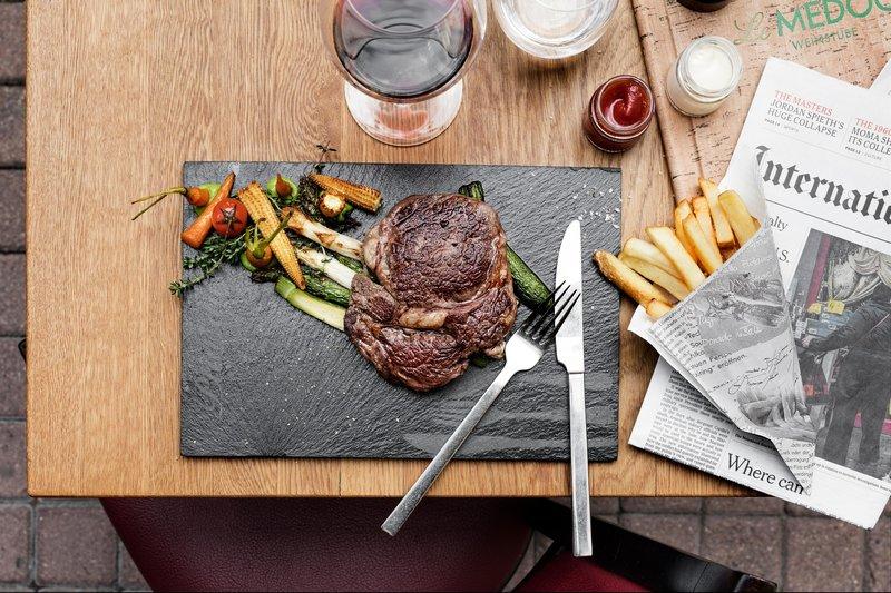 Le Meridien Stuttgart-Restaurant Kleinschmeckerei - Steak and French fries<br/>Image from Leonardo