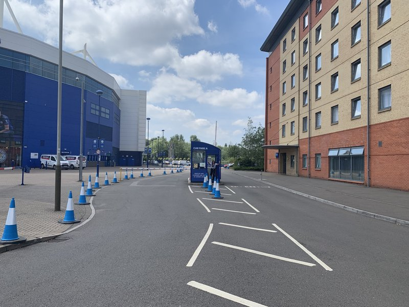 Holiday Inn Express Leicester City-Car-park Entrance<br/>Image from Leonardo