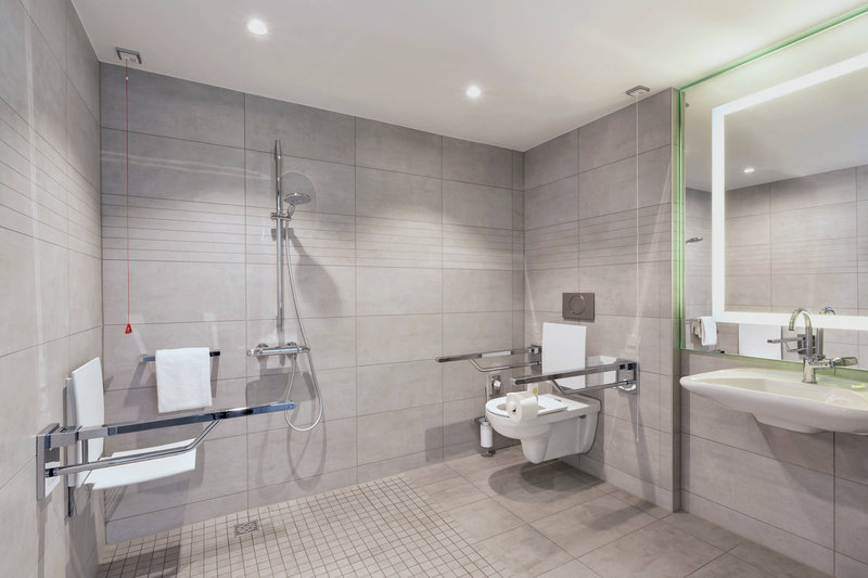 Courtyard Oberpfaffenhofen Munich South-Accessible Guest Bathroom - Roll-In Shower<br/>Image from Leonardo