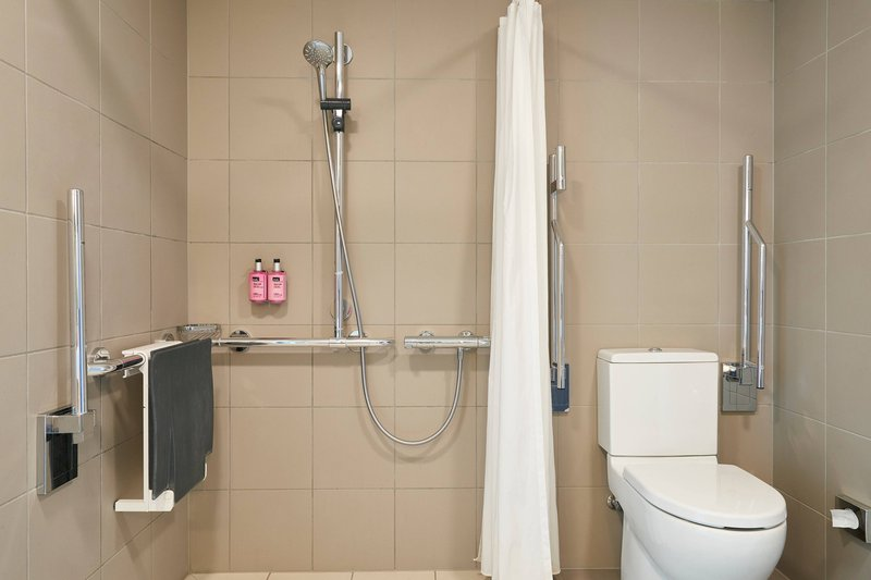 Moxy Milan Linate Airport-Moxy Accessible Bathroom - Roll-in Shower<br/>Image from Leonardo