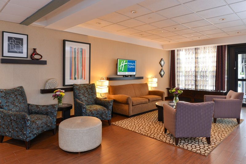 Holiday Inn Express Worcester Downtown-Comfortable Hotel Lobby<br/>Image from Leonardo