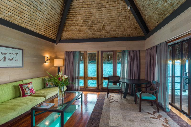 St Regis Resort Bora Bora - Overwater Deluxe Suite Villa Lounge <br/>Image from Leonardo