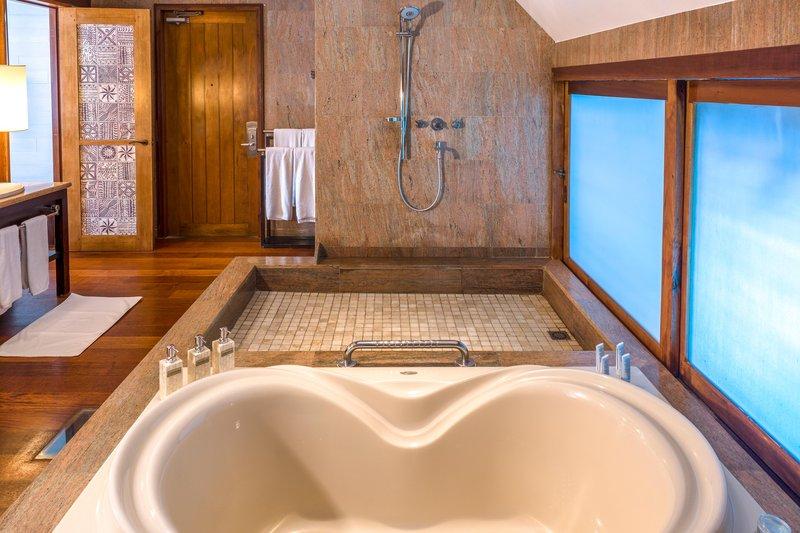 St Regis Resort Bora Bora - Two Bedrooms Overwater Royal Suite Villa Mt Otemanu View Bathroom <br/>Image from Leonardo