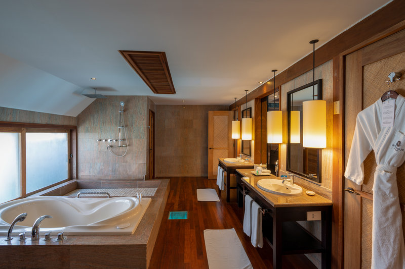 St Regis Resort Bora Bora - Overwater Deluxe Villa With Lagoon View Bathroom <br/>Image from Leonardo