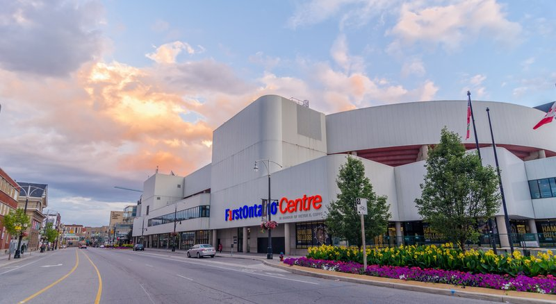 Staybridge Suites Hamilton - Downtown-First Ontario Centre one block, 7 min walk from hotel.<br/>Image from Leonardo