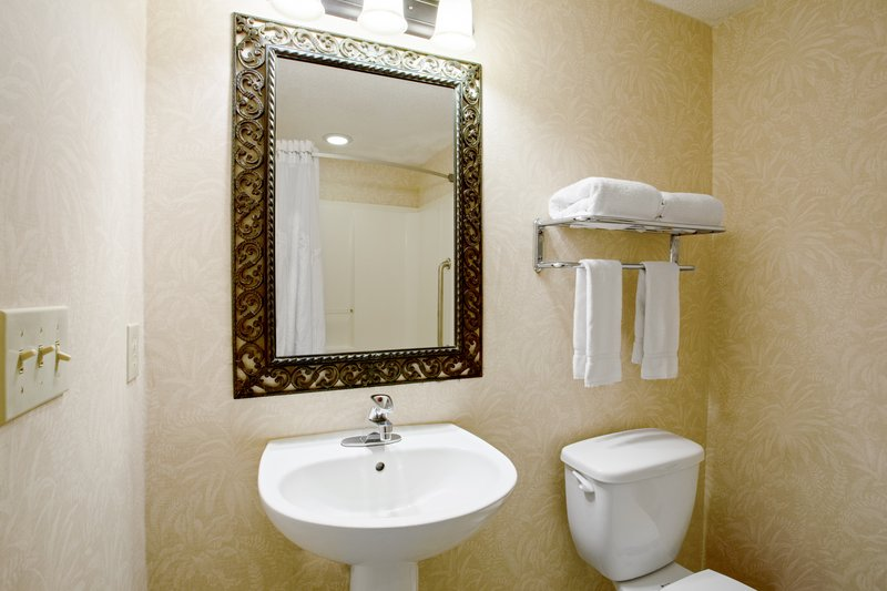 Holiday Inn & Suites Clearwater Beach S Harbour-King Studio bathroom with standard amenities and separate vanity.<br/>Image from Leonardo