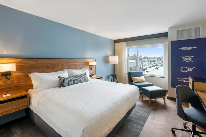 Hotel Indigo Seattle Everett Waterfront-King guestroom with views of the Everett Marina<br/>Image from Leonardo