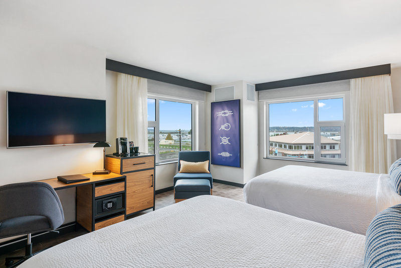 Hotel Indigo Seattle Everett Waterfront-Corner Two Queens with views of Everett's waterfront and beyond<br/>Image from Leonardo