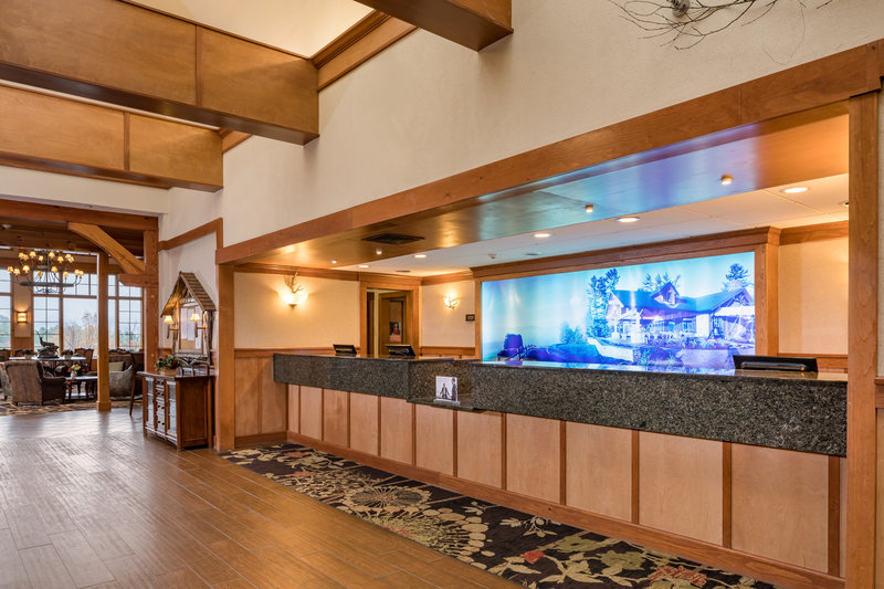 Crowne Plaza Lake Placid-Our front desk is just a few steps from our Adirondack Great Room<br/>Image from Leonardo