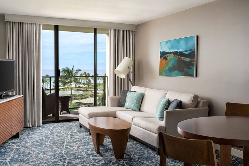 Waikoloa Beach Marriott - Ocean View One Bedroom Suite- Living Room & View <br/>Image from Leonardo