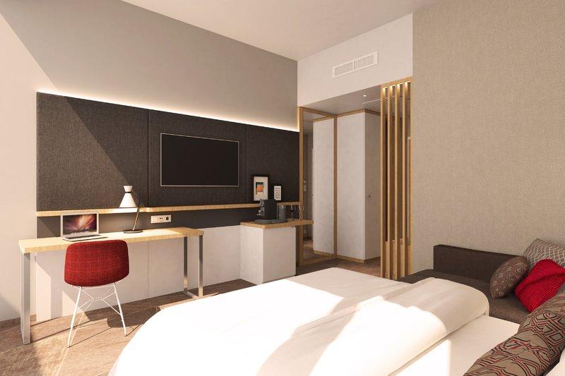Holiday Inn Mannheim City Hauptbahnhof-Guest Room Queen Bed<br/>Image from Leonardo