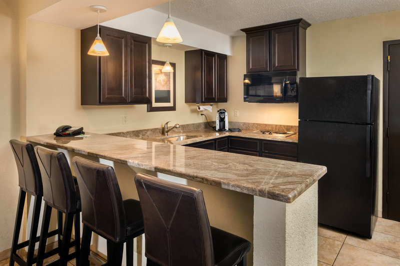 Holiday Inn Hotel & Suites Charleston West-Suites have kitchens with cooktop, microwave, and refrigerators<br/>Image from Leonardo