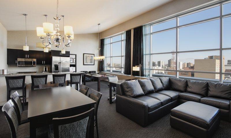 Holiday Inn Saskatoon Downtown-Enjoy the views of downtown through the large, penthouse windows.<br/>Image from Leonardo