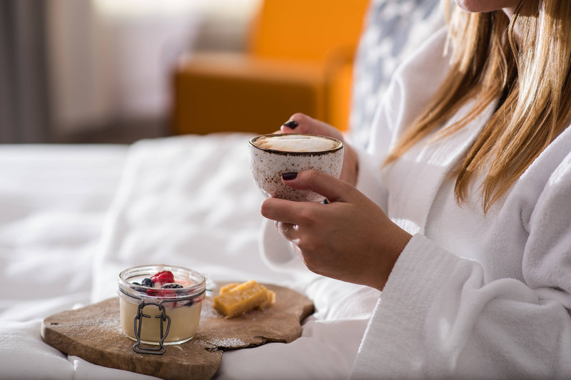 Budapest Marriott Hotel-In-Room Dining - Lemon posset with cappuccino<br/>Image from Leonardo
