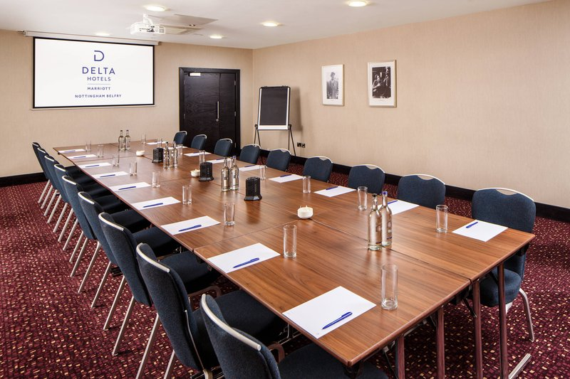 Delta Hotels Nottingham-Chatterley's 3 Room - Boardroom Setup<br/>Image from Leonardo