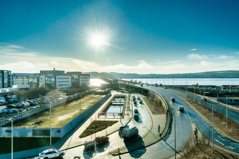 Holiday Inn Express Dundee-View Across Tay Road Bridge<br/>Image from Leonardo