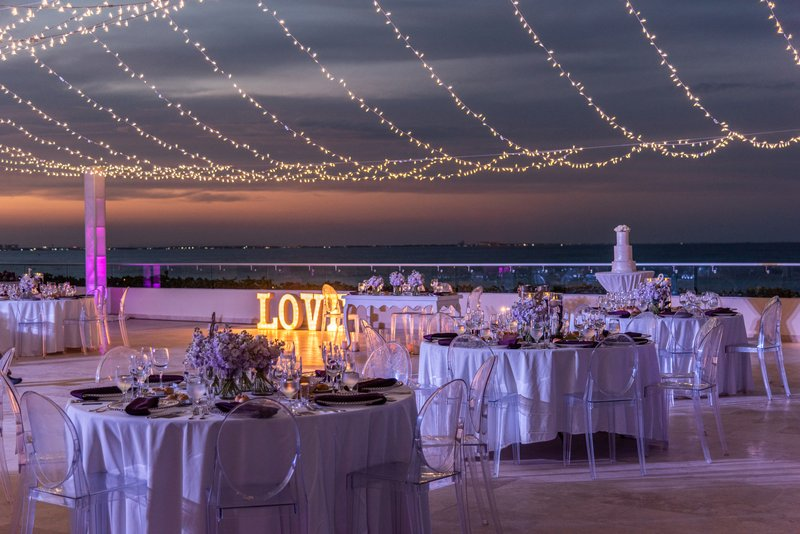 Hyatt Ziva Cancun  - Weddings Roof Terrace Night Shot <br/>Image from Leonardo