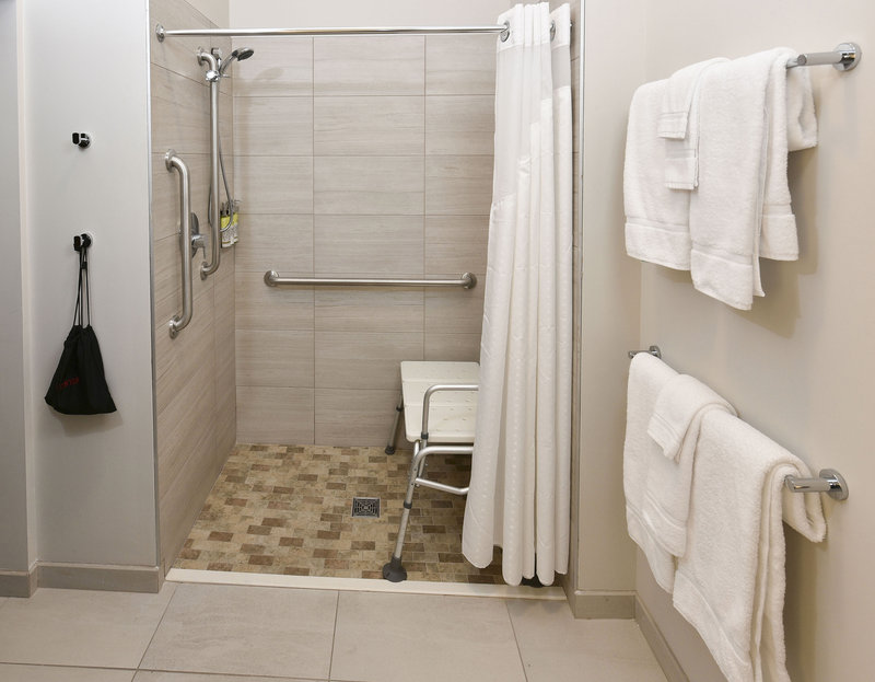 Holiday Inn Express And Suites Madisonville-Guest Room Bathroom with Roll-In Shower<br/>Image from Leonardo
