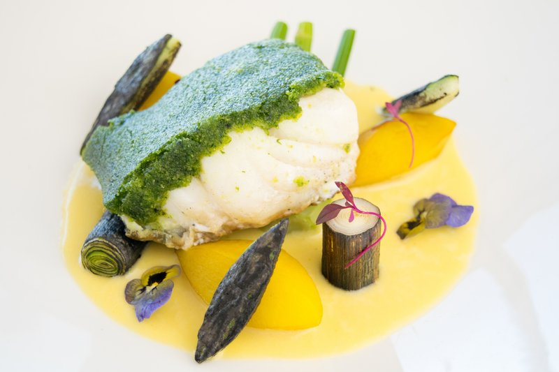 Holiday Inn Southend-Seabass with Parsley & Pistachio crust<br/>Image from Leonardo