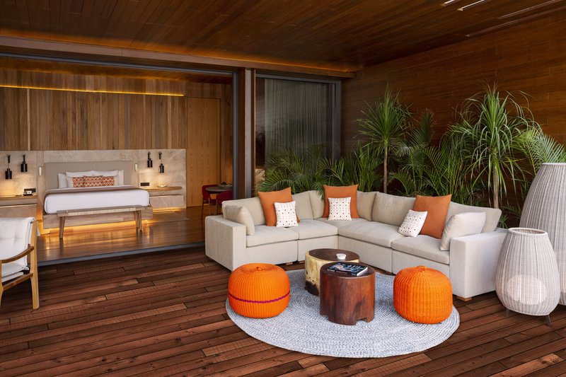 Fairmont Mayakoba - Beachfront Pool Suite - Living Room Area <br/>Image from Leonardo