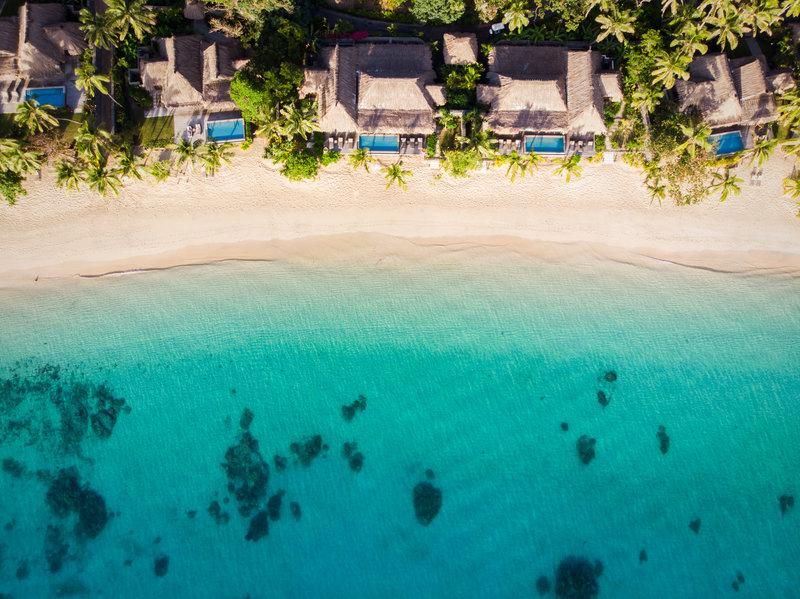 Kokomo Private Island Fiji-West Beach Aerial<br/>Image from Leonardo