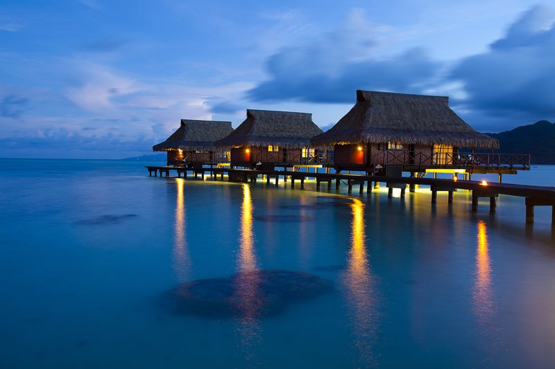Vahine Island-Overwater Bungalows by Night<br/>Image from Leonardo