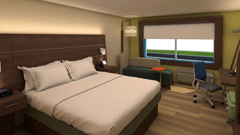 Holiday Inn Express Flint-Campus Area-King bed guestroom<br/>Image from Leonardo